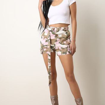 High Waisted Camouflage Belted Cargo Shorts