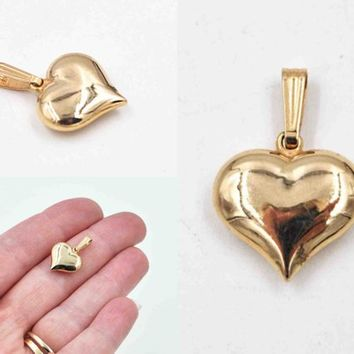 Vintage 14K Yellow Gold Heart Pendant, Puffy Heart, 3D, Smooth, Shiny, 585 Gold, Great Sweetheart Gift! #c537