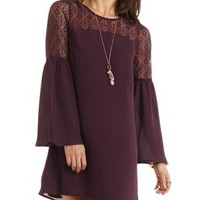 Lace Yoke Bell Sleeve Shift Dress by Charlotte Russe - Oxblood