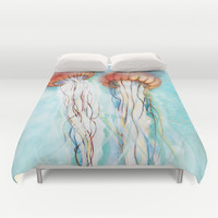 Jelly Fish Duvet Cover by Felicia Atanasiu