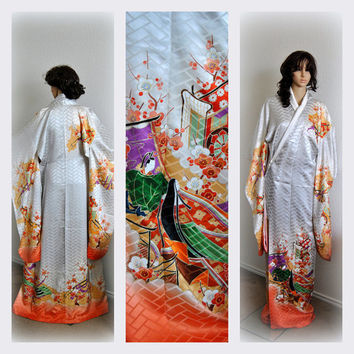 Heian Lady Japanese Kimono Robe Silk Floral Long Cover up Cloak Designer Kaftan Furisode Womens Vintage Clothing Formal Dress Bridal Costume
