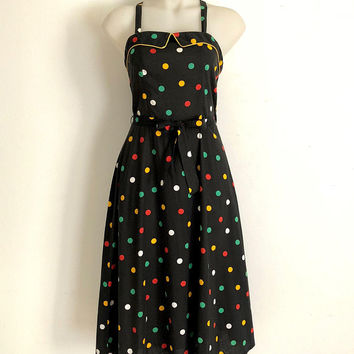 Vintage 1970s 'Franci' black cotton, wrap sundress with 4 colour dot print and fold over, piped front bodice flap
