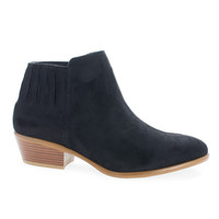 Manny02 Black F-Suede by Wild Diva, Black Suede Almond Toe Ankle Ribbed Elastic Heeled Boots
