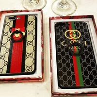 GUCCI BIG STRIPE BEE Color print striped bee iphone7plus gucci mobile phone shell gucci iphone6s anti-crash lover shell.