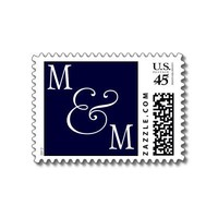 INITIALS  POSTAGE NAVY WHITE from Zazzle.com