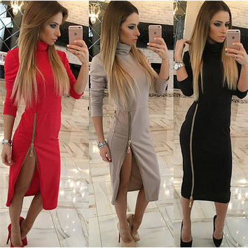 Kaywide High Neck New Autumn Women Casual Dress Side Zipper Up Split Sexy Party Dresses Plus Size Long Sleeve Straight Vestidos