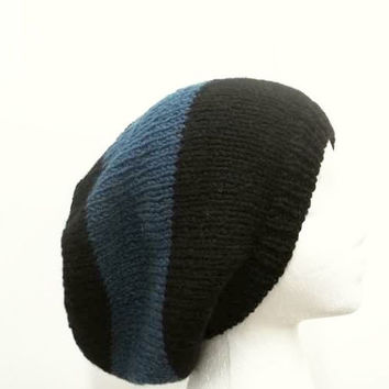 Knitted slouch hat blue and black large stripe hand knitted men or women 5222
