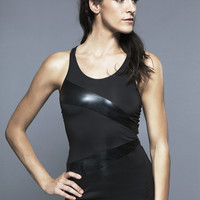 Norma Kamali Spliced Racer Tank in Black/Black Foil