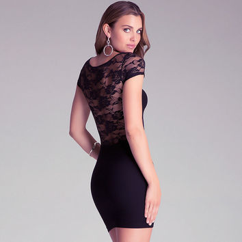 Black  Cutout Floral Lace Mesh Bodycon Mini Dress