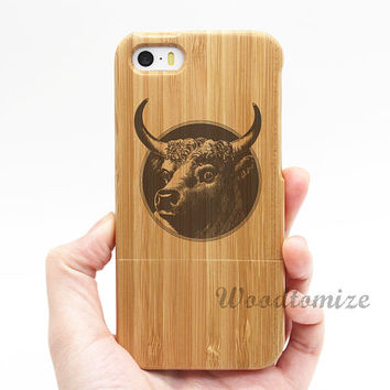 Real wood case, Cow Bull, iPhone 5C case, iPhone 5S 5 case, Wood cover, Bamboo, FREE screen protector