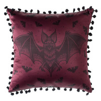 Bat Attack Burgundy Red Gothic Cushion by Sourpuss