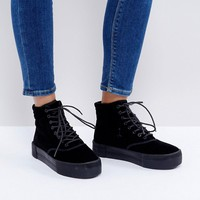 Monki Crushed Velvet Flatform Boot at asos.com