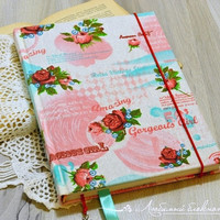 A5 floral handmade notebook Hard fabric covered journal Color sheet notebook journal Girls personal diary Floral fabric journal Gifr for her