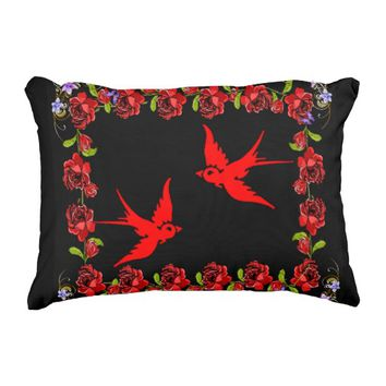 red sparrows with rose border decorative pillow