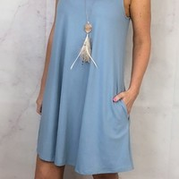Everyday Easy Pocket Tank Dress: Blue