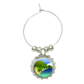 Tropical Paradise - Travel Palm Tree Wine Glass Bottlecap Charm