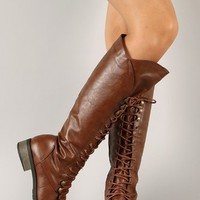 BAMBOO CROFT-17 Women's Lace Up Military Knee High Combat Boots, Color:CHESTNUT, Size:7