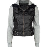 FULL TILT Fleece/Faux Leather Womens Hooded Jacket