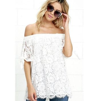 DCCKUN6 Lossky Off Shoulder Lace Crochet Shirts Fashion Blusas 2016 Summer Sexy Women Blouses Short Sleeve Casual Tops