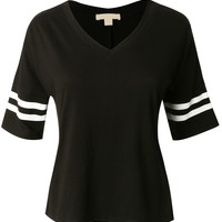 LE3NO Womens Cropped 3/4 Sleeve Baseball Shirt
