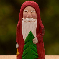 Hand Carved Cottonwood Bark Santa With Christmas Tree--Robin Arnold,Wooden Christmas Art,  Rustic, Folk Art, Handmade in Ohio, Star,