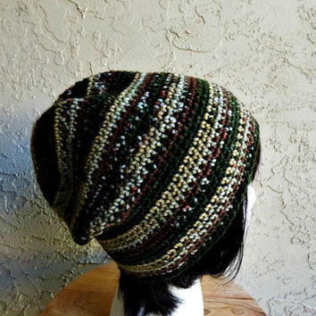 Stripe Slouch - Crochet Slouchy Beanie - Unisex Slouchy Hat - Basic Beanie - Hipster Hat - Camo