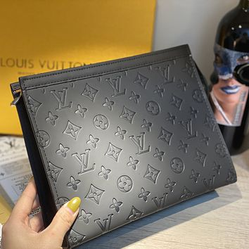 Louis Vuitton LV Hot Sale New Men's and Women's Retro Embossed Letter Briefcase Cosmetic Case