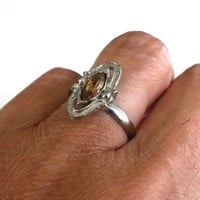 Vtg Smoked Topz Marquise Rhinestone Silver Tone Ring Size 6.75