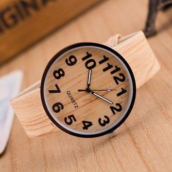 Fashion vintage leather Wood grain Analog ladies quartz-watch hour clock female watch women montre femme orologi donna