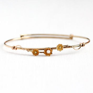 Antique Victorian Bangle - Vintage 10k Rosy Yellow Gold Seed Pearl Floral Bracelet - 1890s Flower Vine Adjustable Dainty Fine Jewelry