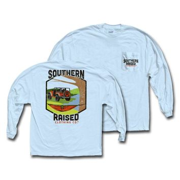"Southern Raised ""Jeep Hammock"" Tee on Comfort Colors Long Sleeve"
