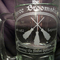 HUGE 1 Liter Glass Mag Three Broomsticks Perfect by geekyglassware