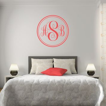 The Solid Coral Script Monogram V1 Wall Decal