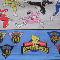 FREE SHIPPING - Power Rangers Twin flat sheet/Vintage Power Rangers/Twin Sheet/Flat Sheet