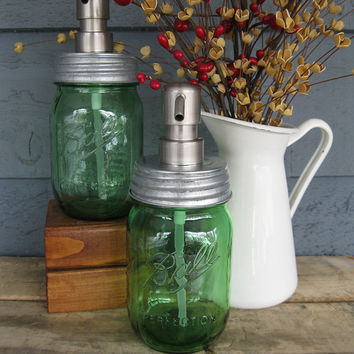 Green Pint Mason Jar Soap Dispenser