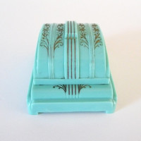 Turquoise Double Art Deco Ring Box Display Celluloid Plastic Ring Box Holder