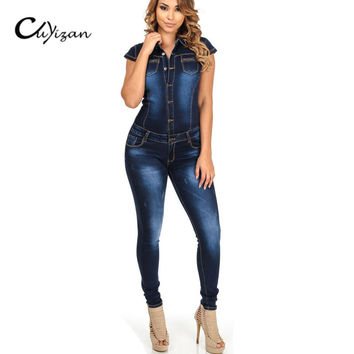 CUYIZAN 2017 Street Fashion Vintage Denim Jumpsuits Women's sleeveless denim jumpsuits Summer playsuit Rompers fashion overalls