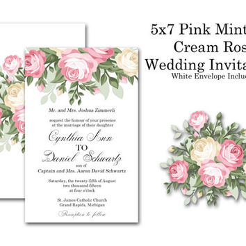 Wedding Invitations 5 x 7 inches Customized to fit your needs Front and Back Printing Pink Mint Cream Rose Watercolor Print