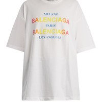Logo and city-print cotton T-shirt | Balenciaga | MATCHESFASHION.COM US