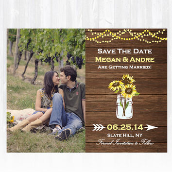 Wood Sunflower Save The Date Magnet or Card DIY PRINTABLE Digital File or Print (extra) Photo Save The Date Country Save The Date