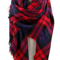 Plaid Oversized Blanket Scarf - Red/Navy