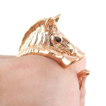 3D Zebra Shaped Animal Wrap Around Ring in Shiny Copper | US Sizes 4 to 9
