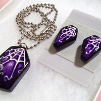 Spiderweb Coffin Jewelry Set (Necklace & Earrings) - Handpainted Polymer Clay - Royal Purple, Violet - Halloween, Gothic, Punk - Women, Teen