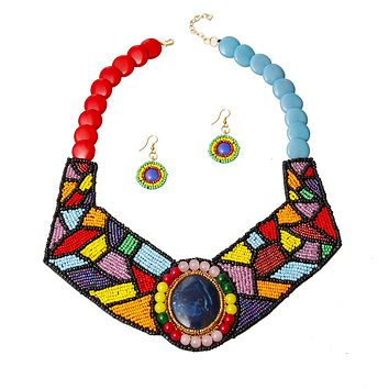 Rainbow Beaded Collar Bib Necklace Set Featuring Beaded Neckline