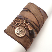Silk Wrap Bracelet with Tree of Life Peace by charmeddesign1012