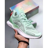 Adidas Alphabounce 3M Reflective Chameleon Fashion Men Women Casual Sport Running Shoes Sneakers Green