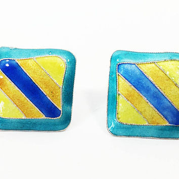 Sterling & Glass Enamel Square Pierced Earrings, Retro Pop Art Studs for Ears, Teal with Yellow, Gold, Blue Stripe Jewelry, Wearable Art