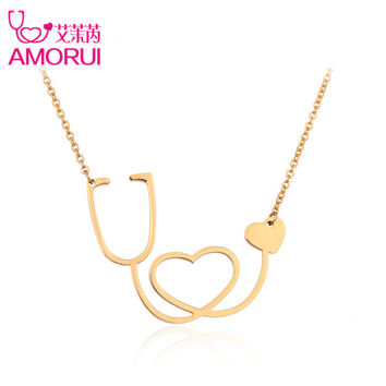 AMORUI Medical Stethoscope Pendant Chain Necklace Rose Gold/Gold/Silver CoHeart Chain Jewelry Collier Femme Necklaces for Women