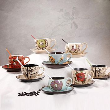 1 Set stoneware ceramic coffee cups and mugs/ Coffee cup dish set/ coffee tea cups and saucer set/ ceramic coffee drinkware