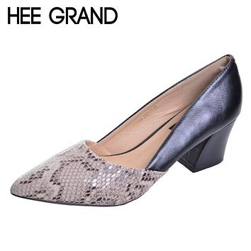 HEE GRAND Serpentine High Heels Sexy Patchwork Elegant Pumps Low Heels Platform Women Casual Shoes Slip On Shoes Woman WXG213 Macchar Cosplay Catalogue